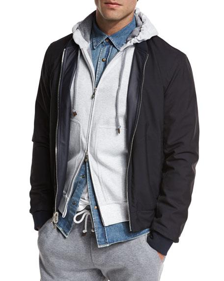 Reversible Leather & Wool Bomber Jacket, Navy