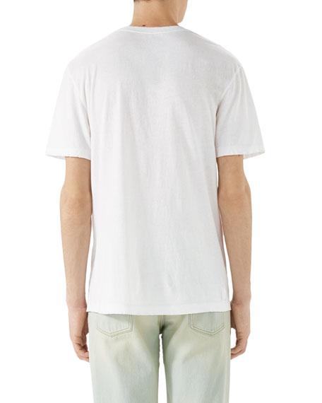 Washed T-Shirt w/GG Print, White