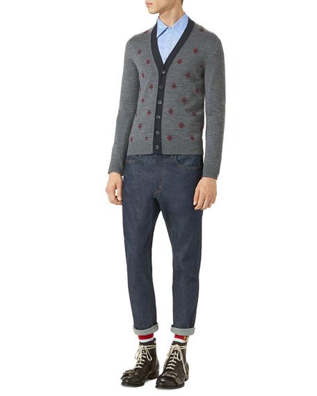 Wool Cardigan w/Bees & Stars, Gray