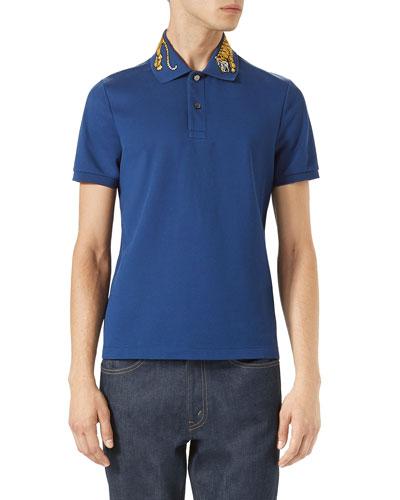 Cotton Polo w/Tiger Embroidery, Blue