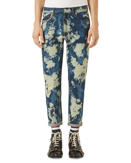 Bleached Denim Punk Pants, Indigo