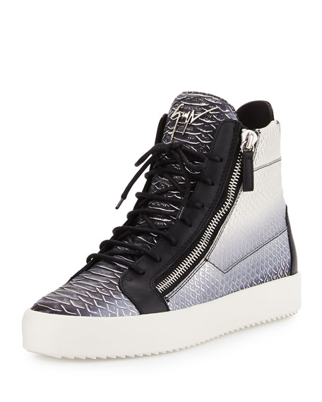 Men's Metallic Snake-Print High-Top Sneaker, Gray
