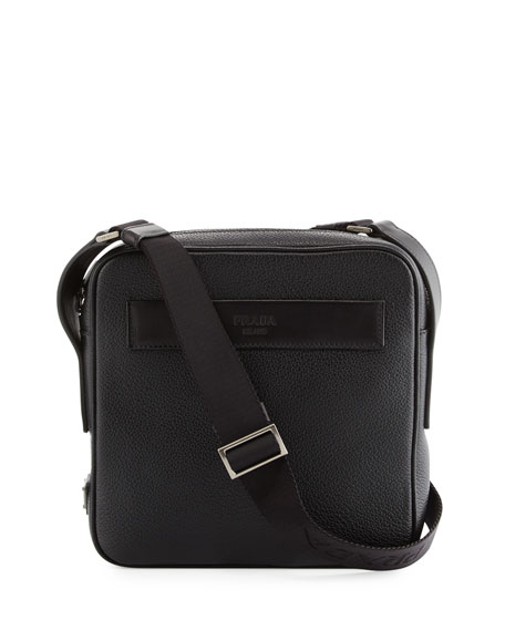 Prada Men's Leather Crossbody Messenger Bag, Black