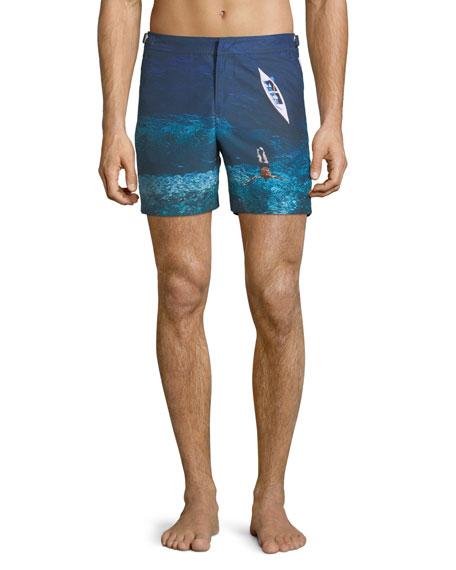 Bulldog Photographic Deep Sea Printed Swim Trunks, Blue