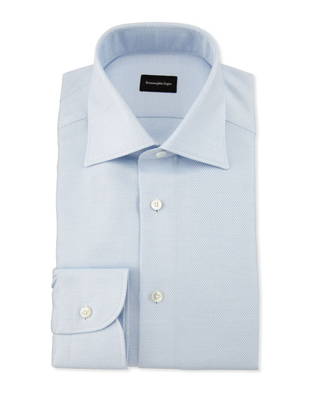 Diagonal-Weave Twill Dress Shirt, Light Blue