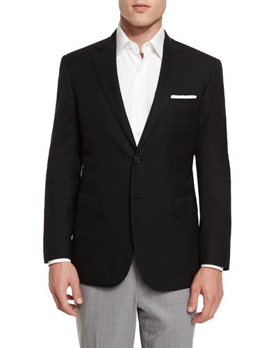 Twill Two-Button Blazer  Black