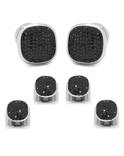 Black Preciosa Pave Cuff Links & Stud Set