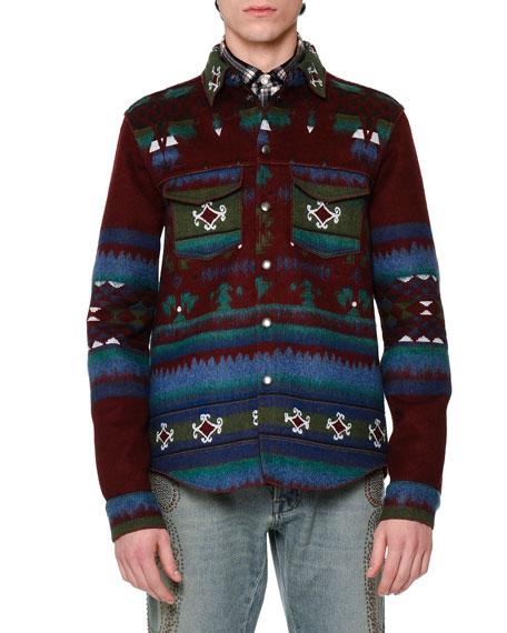 Tribal-Print Woven Shirt Jacket, Wine