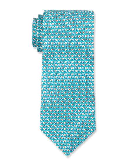 Flower-Print Silk Tie