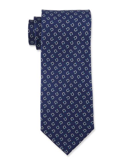 Horseshoe Gancini Silk Tie