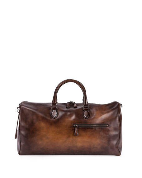 Berluti Jour-Off GM Large Leather Duffel Bag, Brown