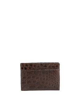 Crocodile Card Case, Brown