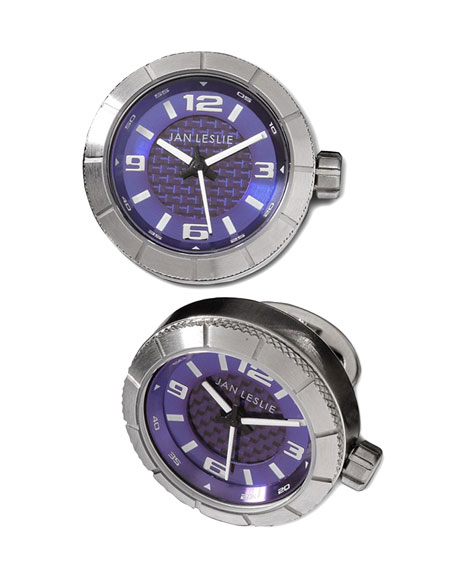 Sport Watch Cuff Links, Blue