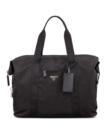 replica handbags manufacturers - Prada Nylon and Leather Duffel Bag, Black