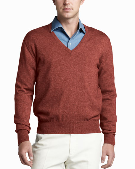 Scollo V-Neck Sweater, Aragon Red
