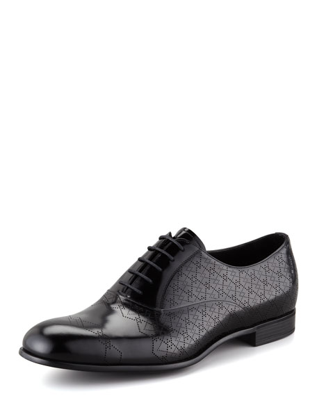 Perforated Spazzolato Leather Lace-Up, Black