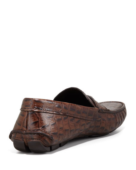 Crocodile-Embossed Logo Driver, Brown