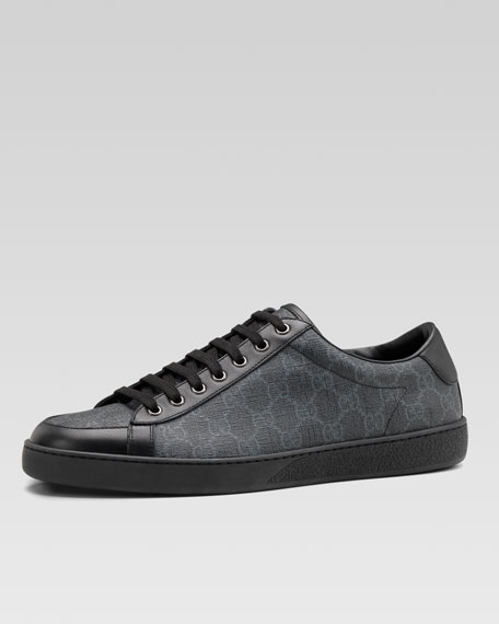 gucci men 39 s brooklyn gg supreme fabric lace up sneakers black. Black Bedroom Furniture Sets. Home Design Ideas