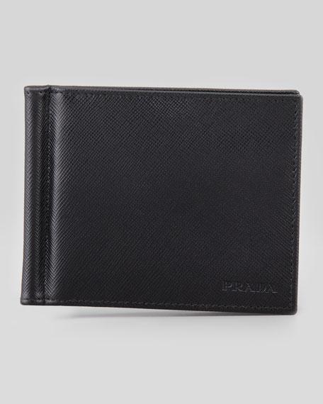 Prada Saffiano Clip Wallet, Black