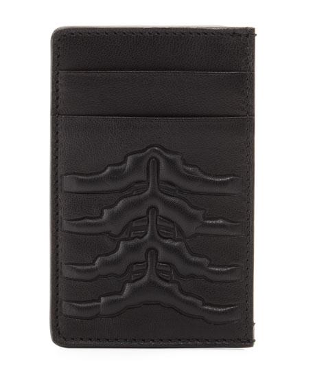 Ribcage-Embossed Card Case, Black