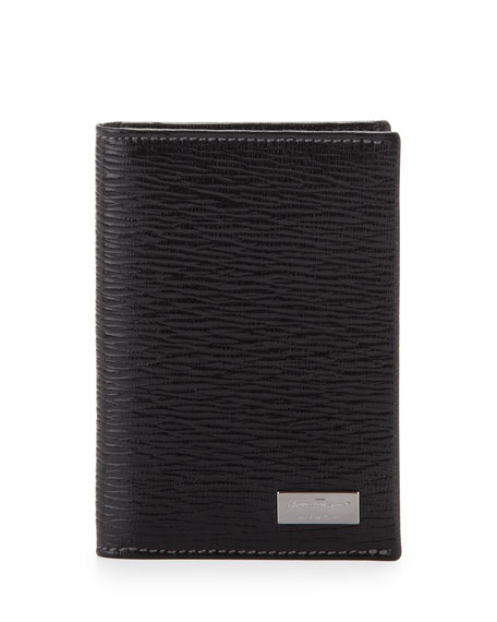 SALVATORE FERRAGAMO Men'S Revival Credit Card Holder With Id Window, Black