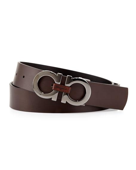 Reversible Double-Gancini Belt, Black/Brown