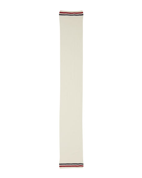 Men's Reversible Wool Logo Scarf, White