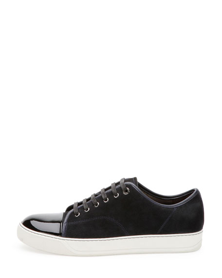 Men's Suede & Patent Leather Low-Top Sneakers, Navy