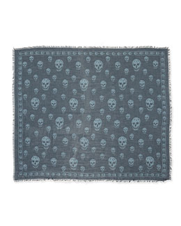 Modal/Silk Skull Shawl, Gray/Sky Blue