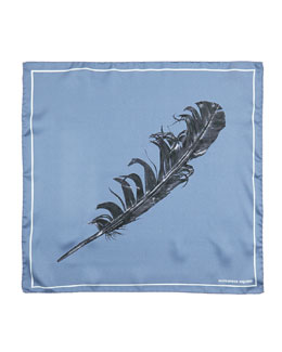 Feather-Print Pocket Square
