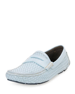 Braided Calfskin Penny Driver, Light Blue