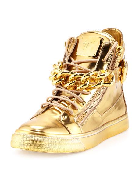 Men's Metallic Chain & Zipper High-Top Sneaker, Gold