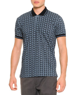 Short-Sleeve Owl-Print Polo Shirt, Blue/Navy