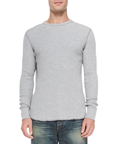 Waffle-Knit Crewneck Shirt, Pale Gray