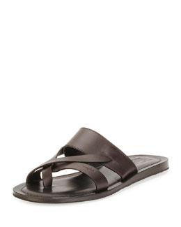 Nev Calfskin Toe Ring Sandal, Brown