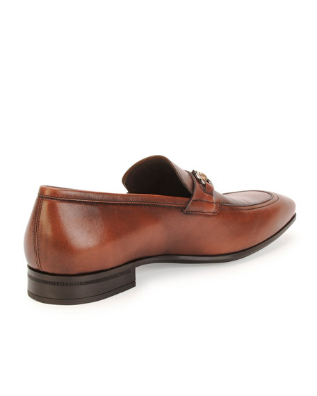 Burnished Calfskin Gancini Loafer, Brown