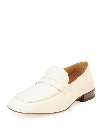 Naples Calfskin Penny Loafer, Off White""