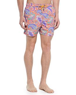Paisley-Print Swim Trunks, Coral/Multi