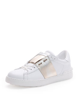 Low-Top Sneaker with Stripe, White/Gold