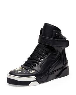 Tyson Floral-Toe High-Top Sneaker