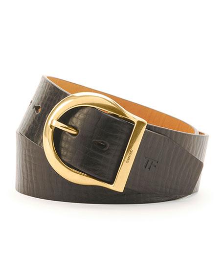 Men's Leather Round-Buckle Belt, Brown