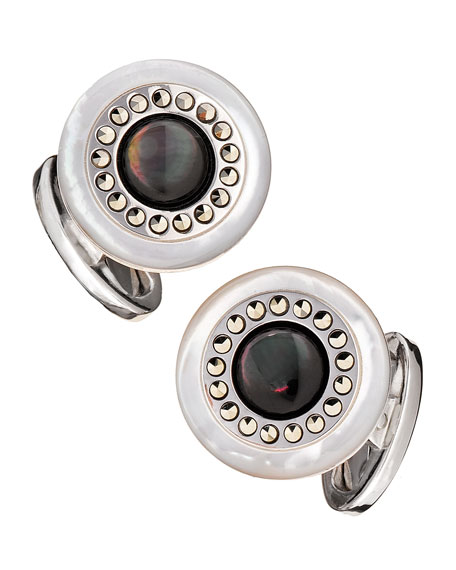 Round Mother-of-Pearl Cuff Links