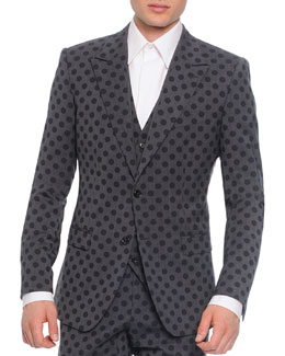 Wool Polka Dot Jacket and Vest, Gray