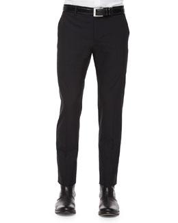 Slim Tropical-Wool Trousers, Black