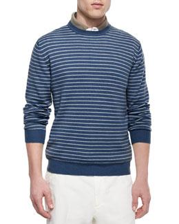 Westport Striped Crewneck Sweater, Blue/White