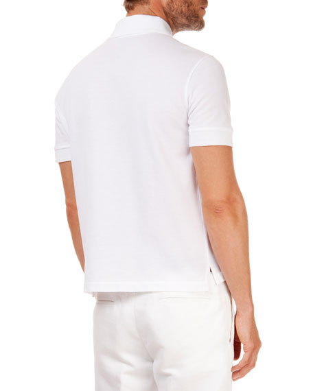 Polo with Leather Detail, White