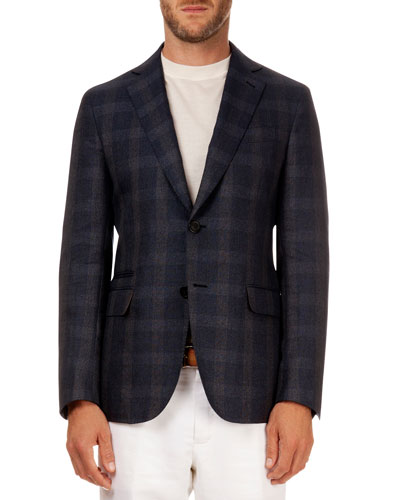 Plaid Soft Jacket, Navy/Gray