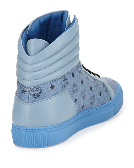 Monogrammed High-Top Sneaker, Denim