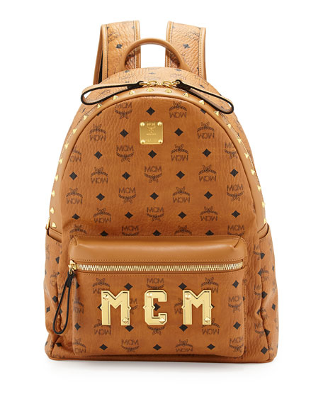 Men's Studded Logo Backpack, Cognac