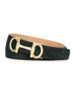 Parigi Silver-Buckle Suede Belt, Blue